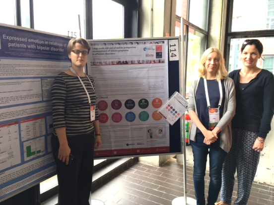 Dr Katherine Gordon-Smith (middle) and Dr Liz Forty (L), with Dr Kate Saunders from the University of Oxford, presenting some of our collaborative research at ISBD.