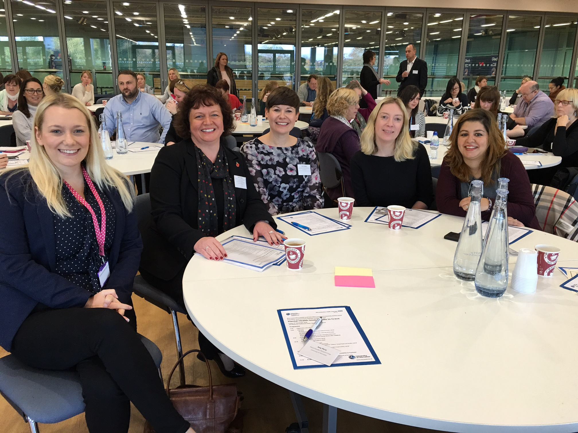 Members of BDRN at the seminar [Amy Perry (L), Lisa Jones (second L), Katherine Gordon-Smith (second R)], with visiting PhD student Francesca Serra (R) and Carly Craddock (centre), Research Delivery Manager with the NHS Clinical Research Network.