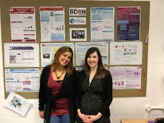 Francesca Serra (L), our visiting PhD student, with Sarah Knott (R)